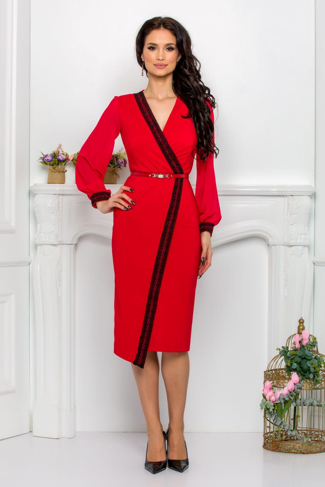 Κόκκινο Φόρεμα Με Διάφανα Μανίκια Estefania 9524 1