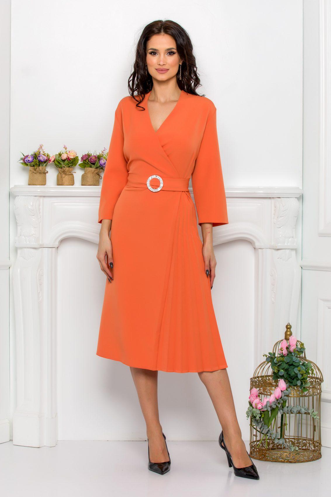 Πορτοκαλί Κρουαζέ Φόρεμα Με Ζώνη Kourtney 9531 1
