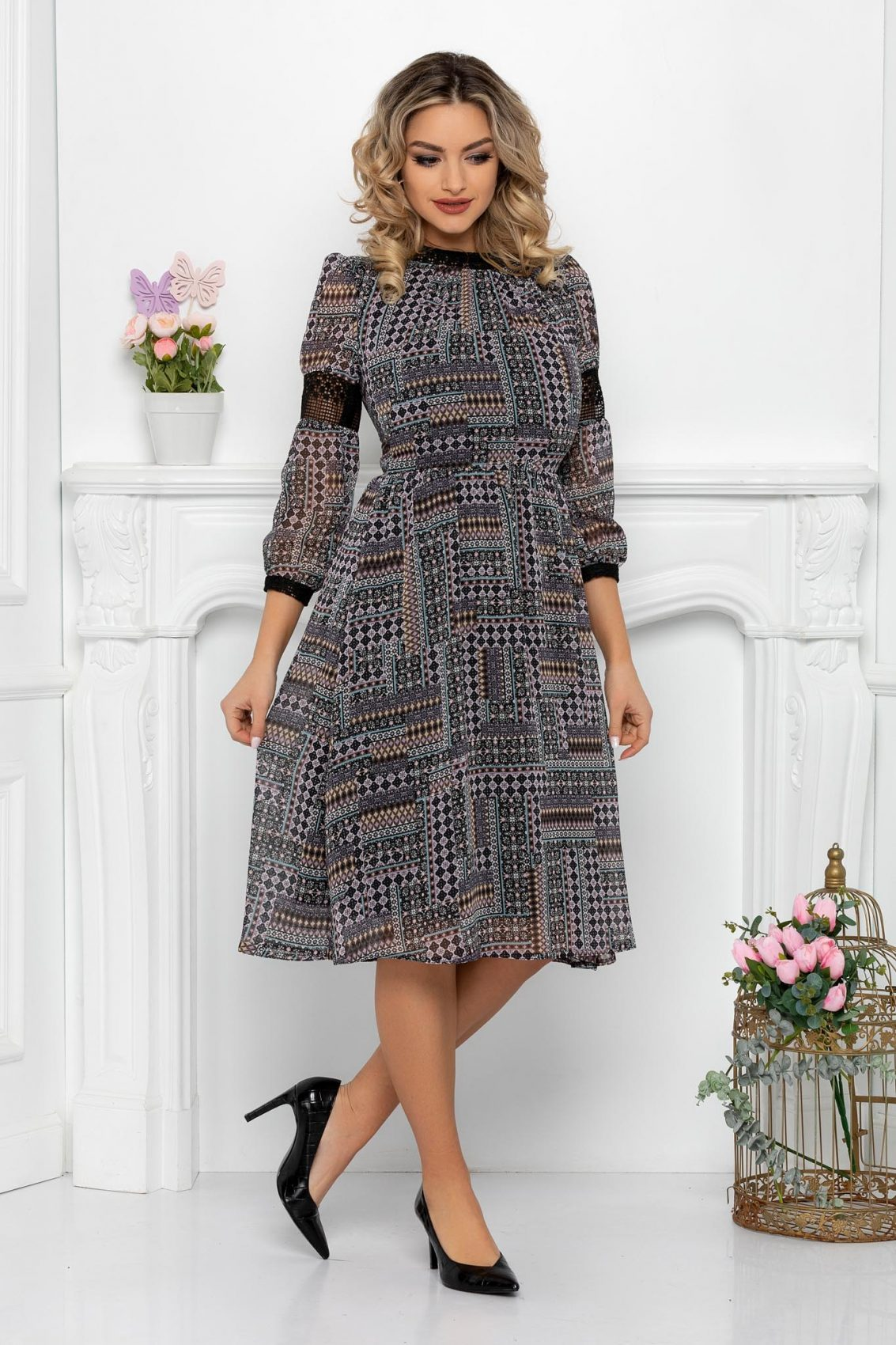Μαύρο Φόρεμα Με Δαντέλα Cerise 9455 1