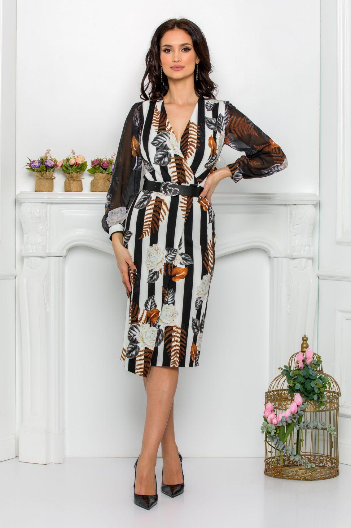 Φλοράλ Μακρυμάνικο Φόρεμα Με Ζώνη Loretta 9511 1