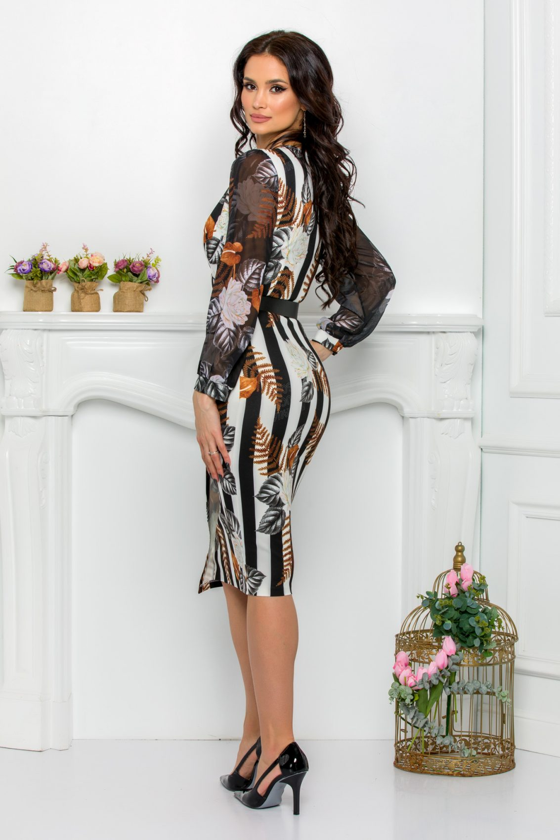 Φλοράλ Μακρυμάνικο Φόρεμα Με Ζώνη Loretta 9511 2