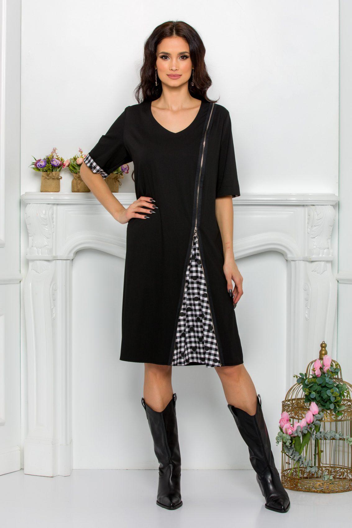Μαύρο Φόρεμα Plus Size Ydda 9542 5