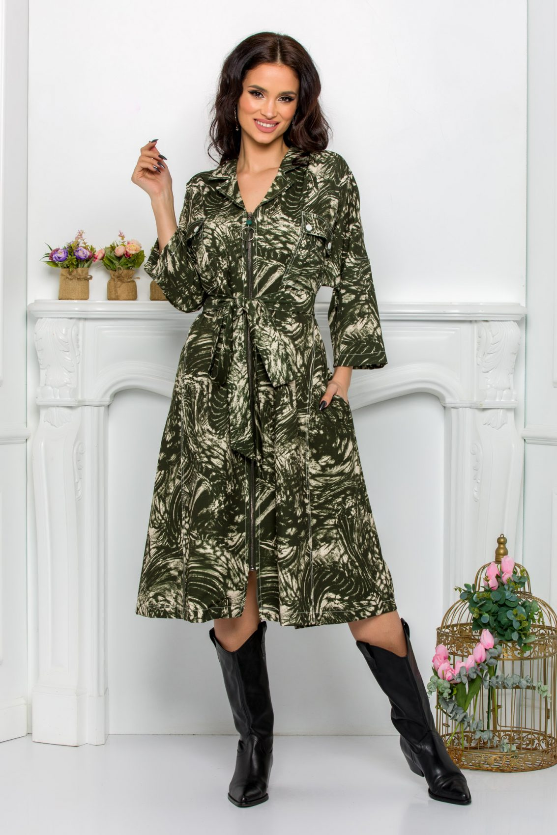 Πράσινο Φόρεμα Με Φερμουάρ Plus Size Dafne 9534 1