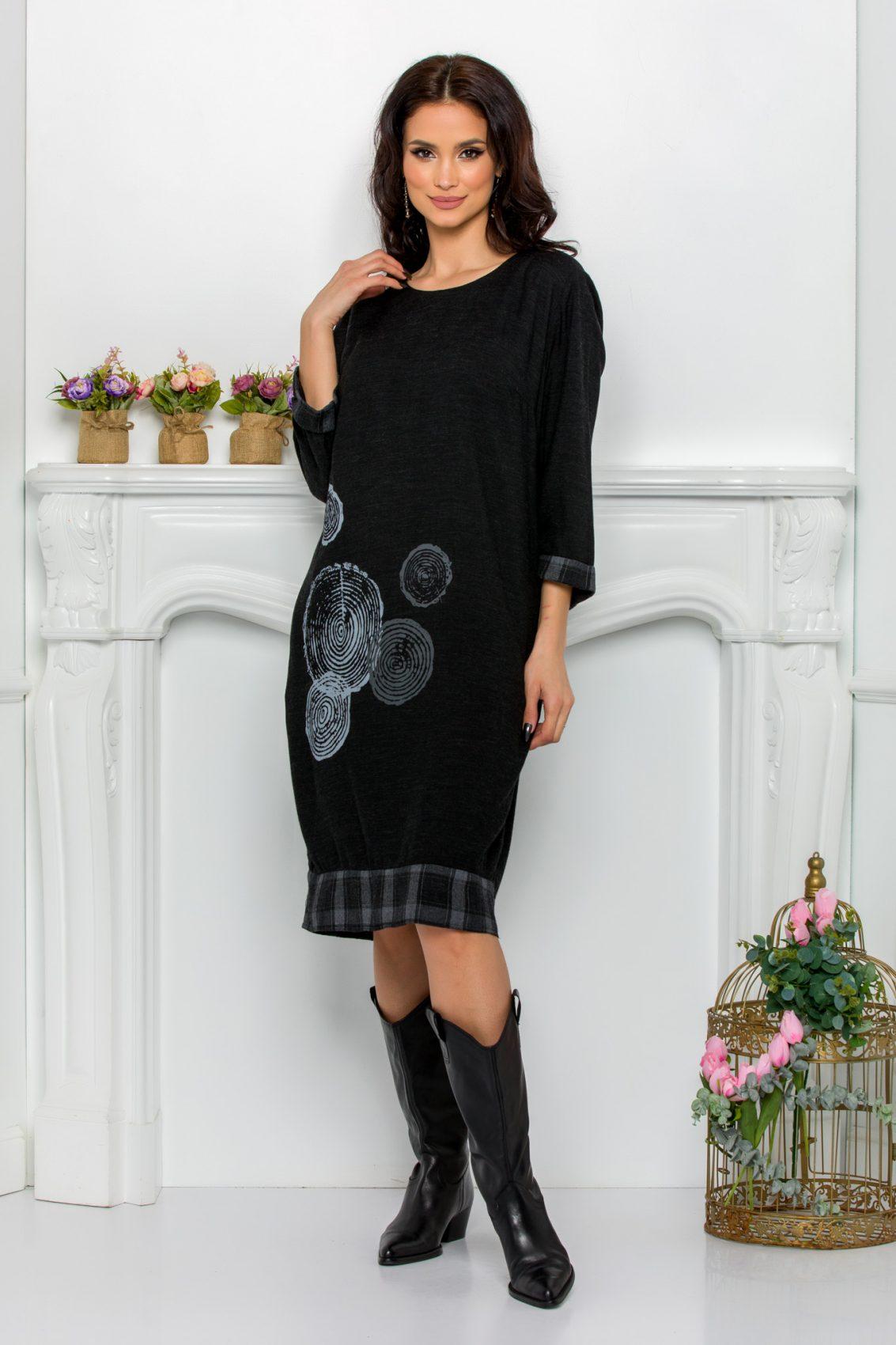 Μαύρο Καθημερινό Φόρεμα Ily 9625 1