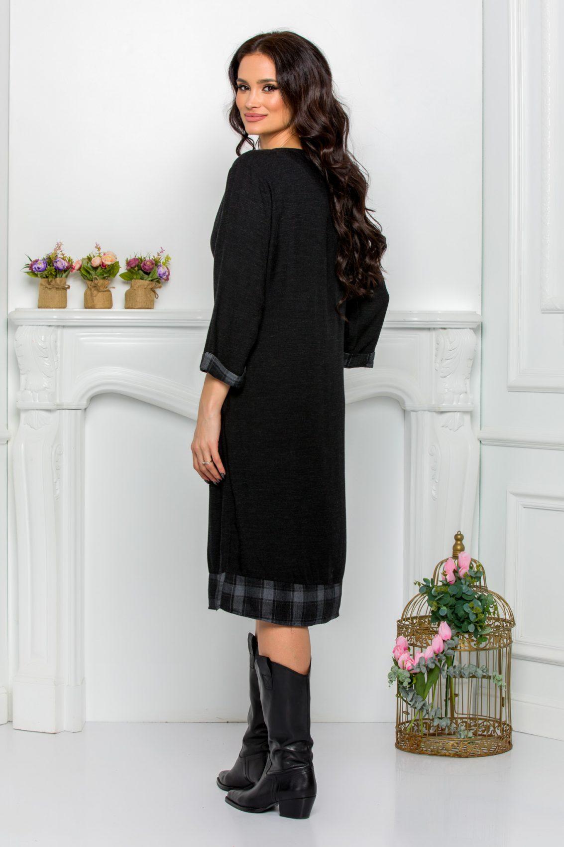 Μαύρο Καθημερινό Φόρεμα Ily 9625 2