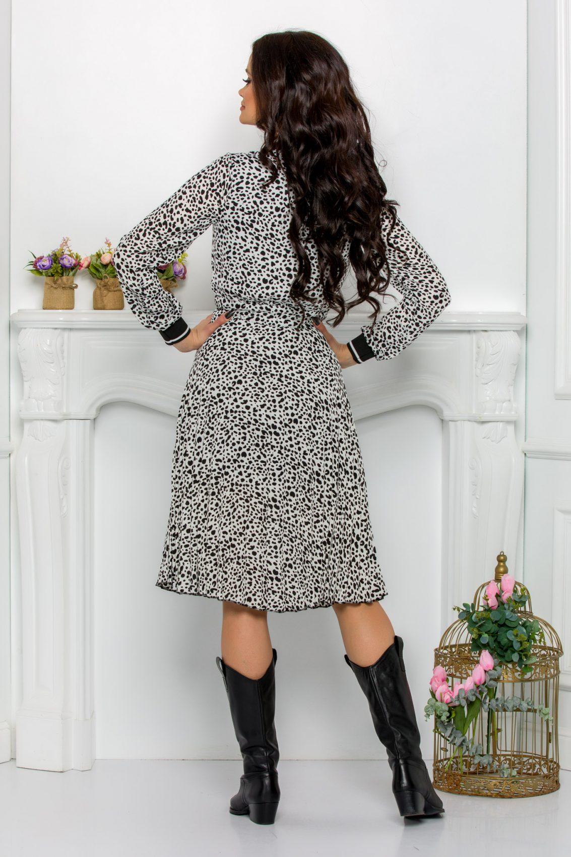 Ασπρόμαυρο Φόρεμα Με Φερμουάρ Yola 9556 2