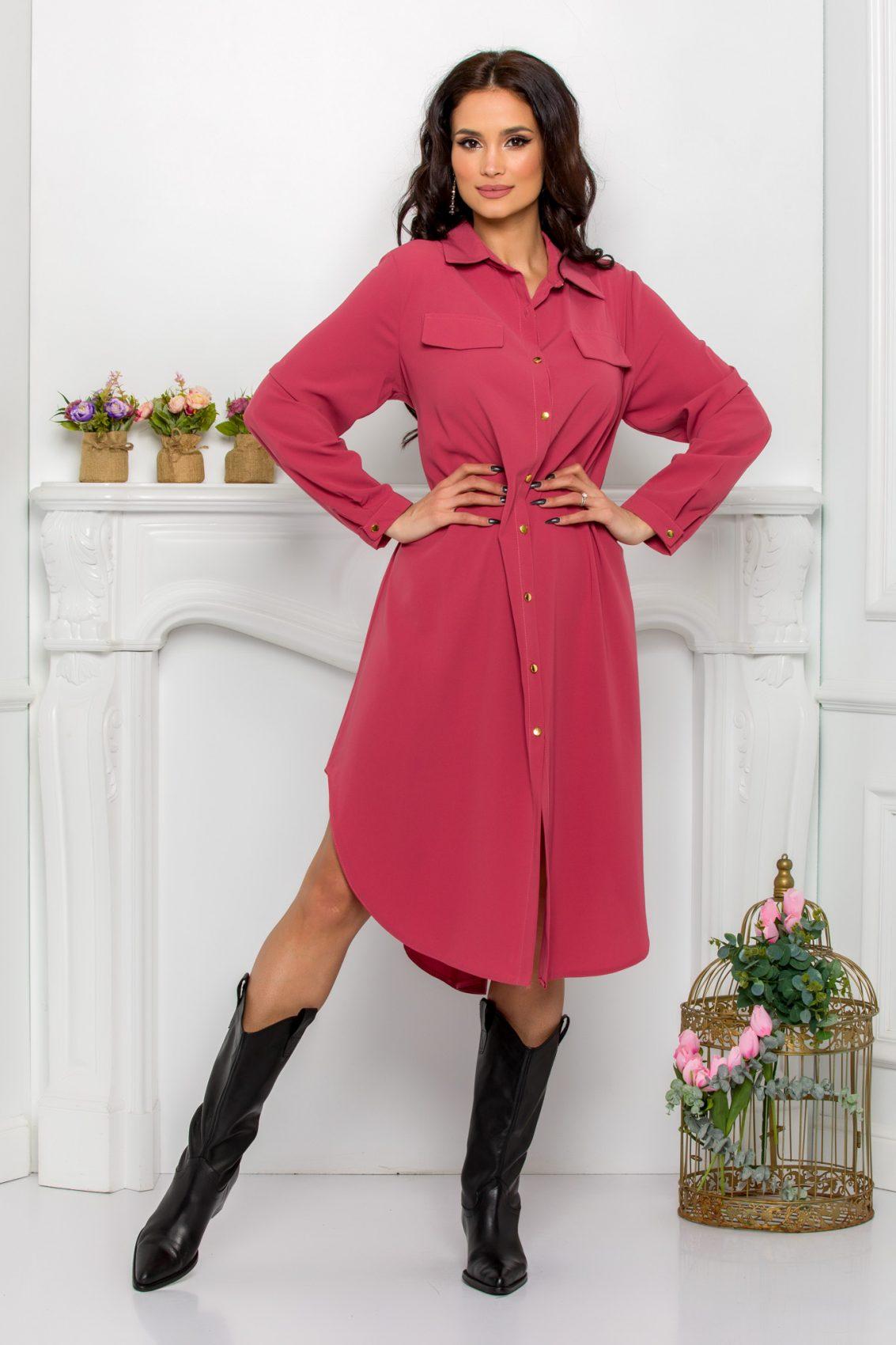 Ροζ Φόρεμα Πουκάμισο Μεγάλα Μεγέθη Kandy 9527 1