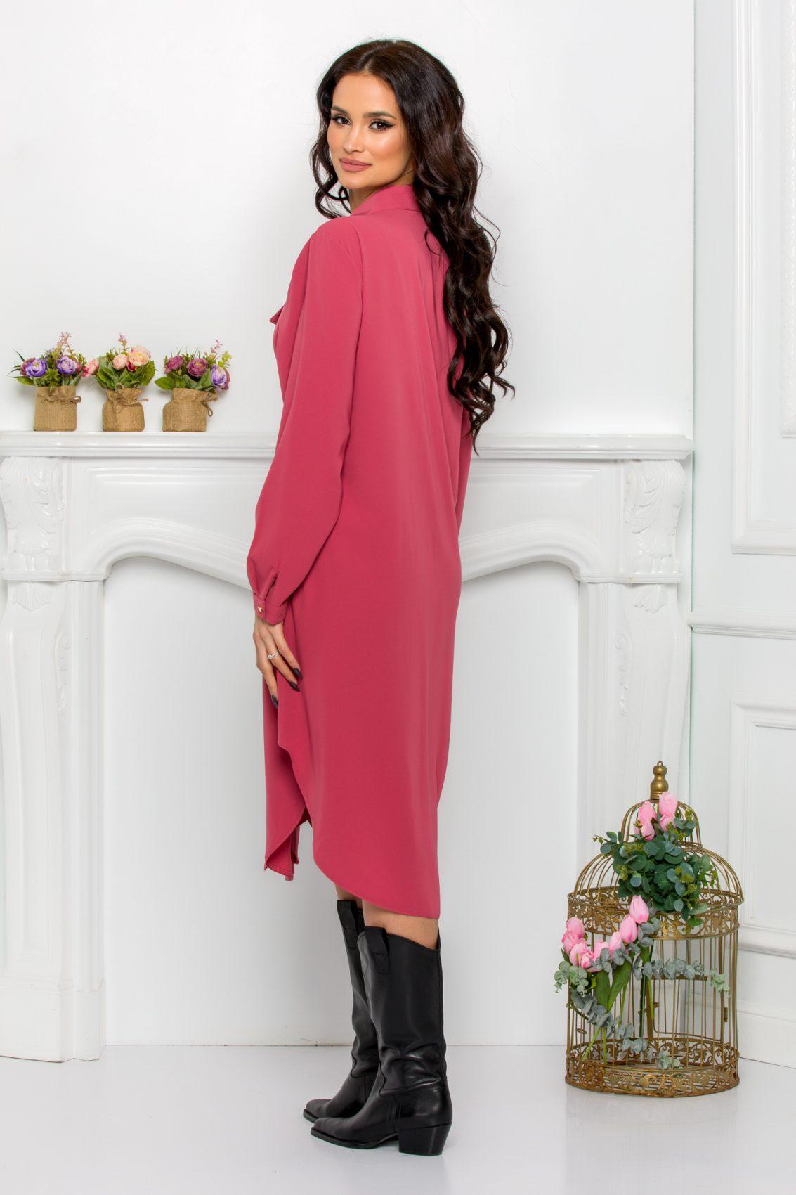 Ροζ Φόρεμα Πουκάμισο Μεγάλα Μεγέθη Kandy 9527 2