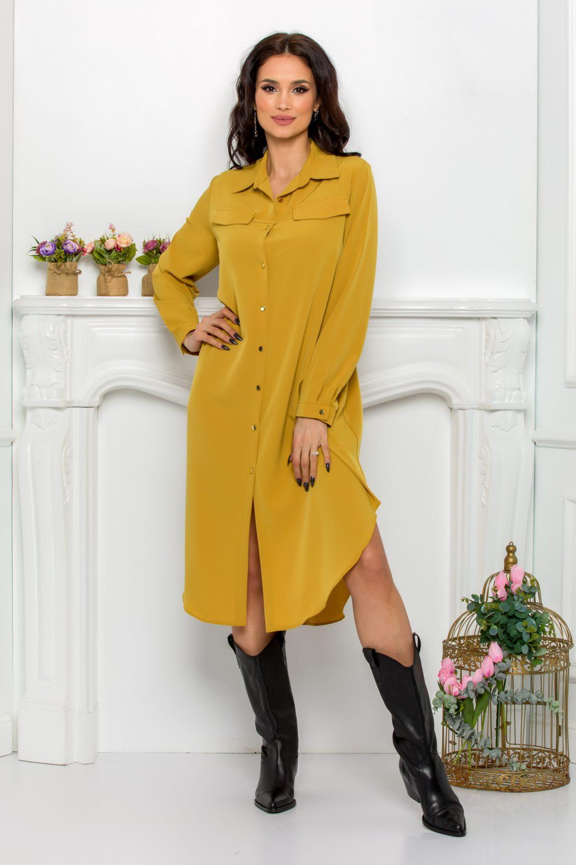 Κίτρινο Φόρεμα Πουκάμισο Μεγάλα Μεγέθη Kandy 9525 1