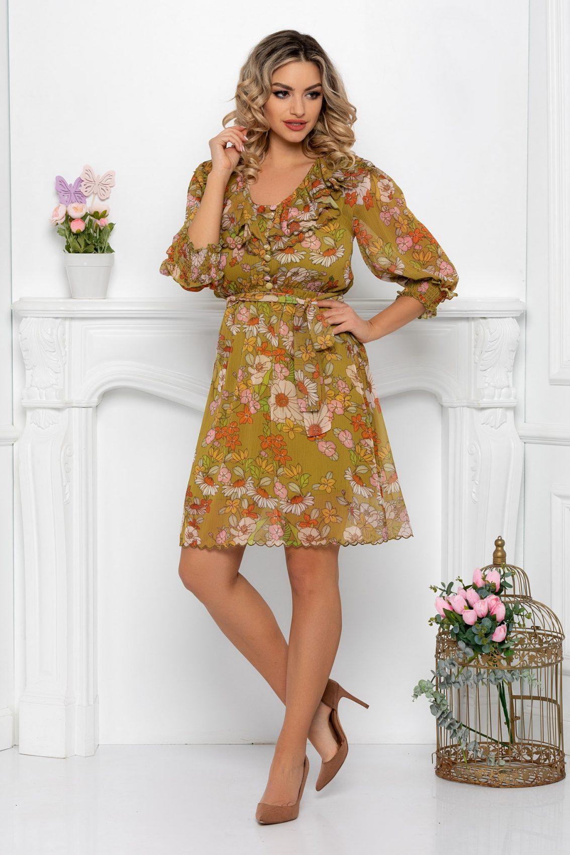 Φλοράλ Φόρεμα Με Βολάν Christine 9442 1