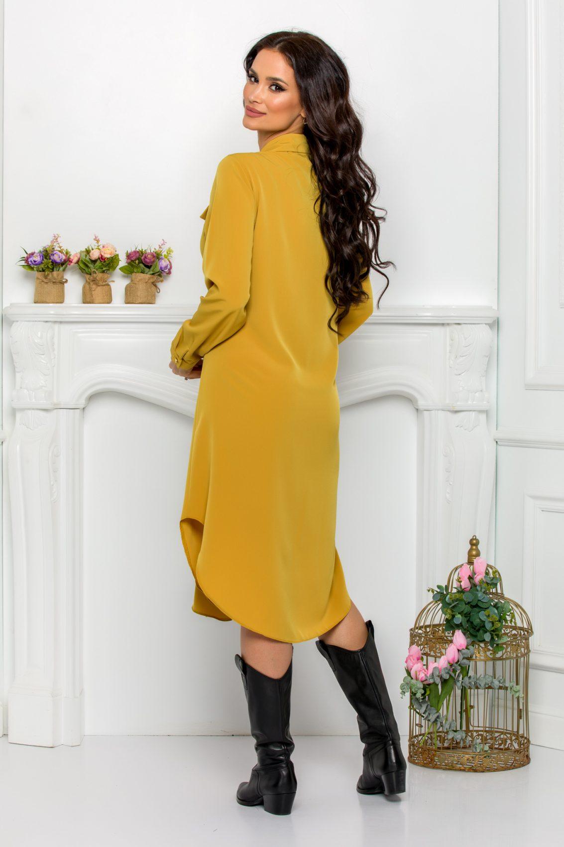 Κίτρινο Φόρεμα Πουκάμισο Μεγάλα Μεγέθη Kandy 9525 2