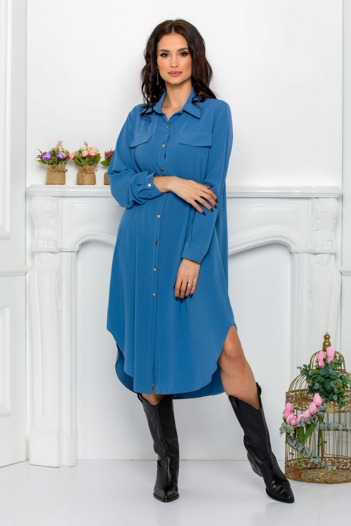 Μπλε Φόρεμα Πουκάμισο Μεγάλα Μεγέθη Kandy 9526 1