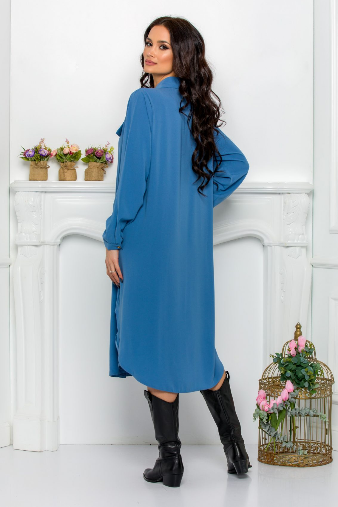 Μπλε Φόρεμα Πουκάμισο Μεγάλα Μεγέθη Kandy 9526 2