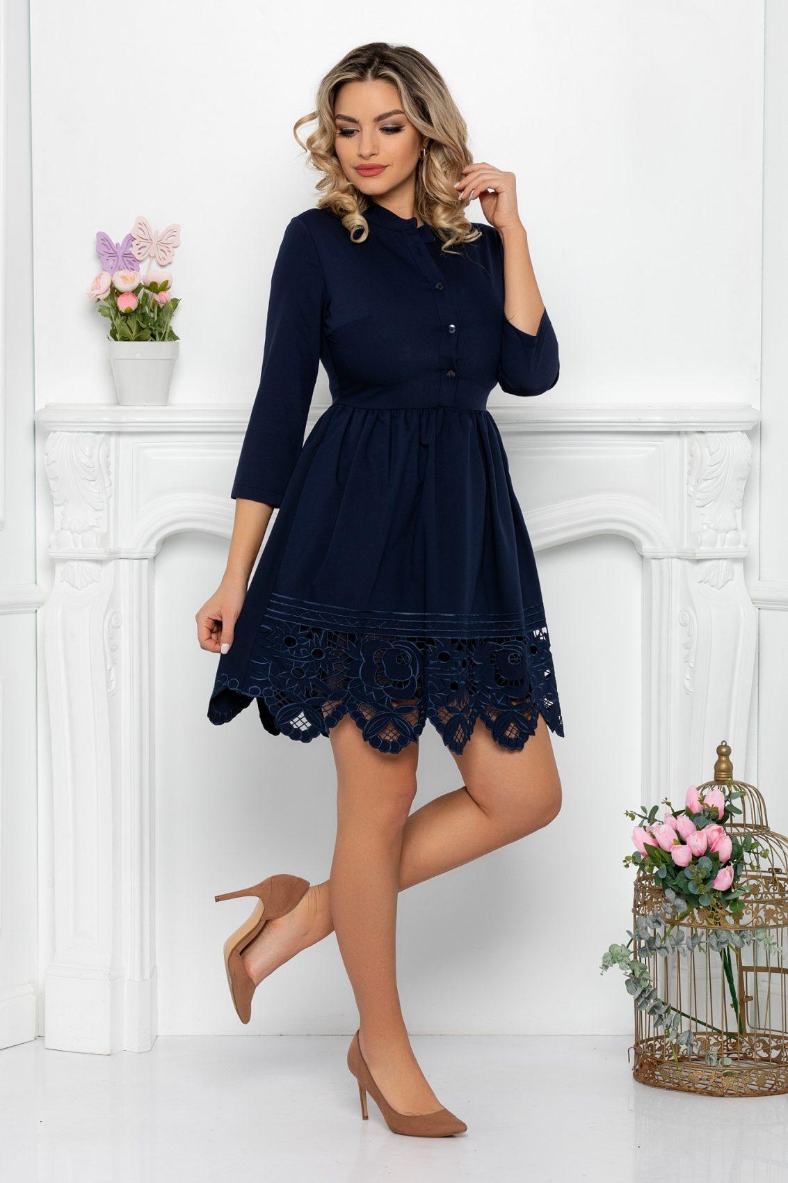 Μπλε Μίνι Φόρεμα Με Δαντέλα Denisa 9366 1