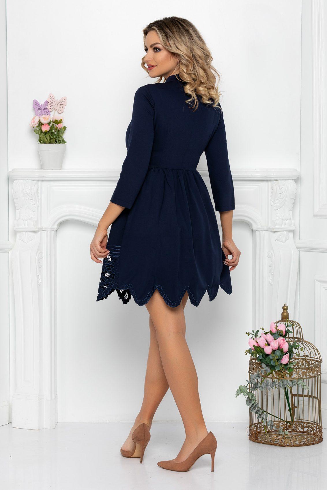 Μπλε Μίνι Φόρεμα Με Δαντέλα Denisa 9366 2