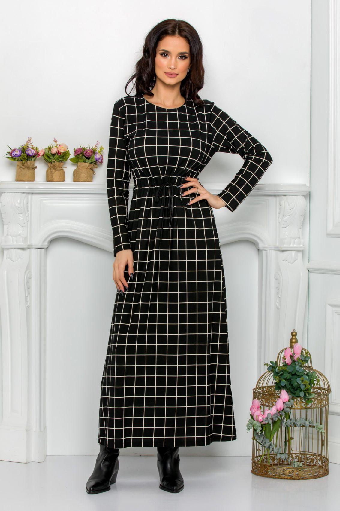 Ασπρόμαυρο Φόρεμα Kalinya 9627 1