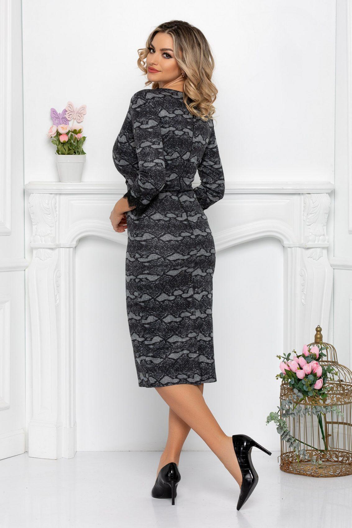Γκρι Μίντι Κρουαζέ Φόρεμα Venus 9398 2