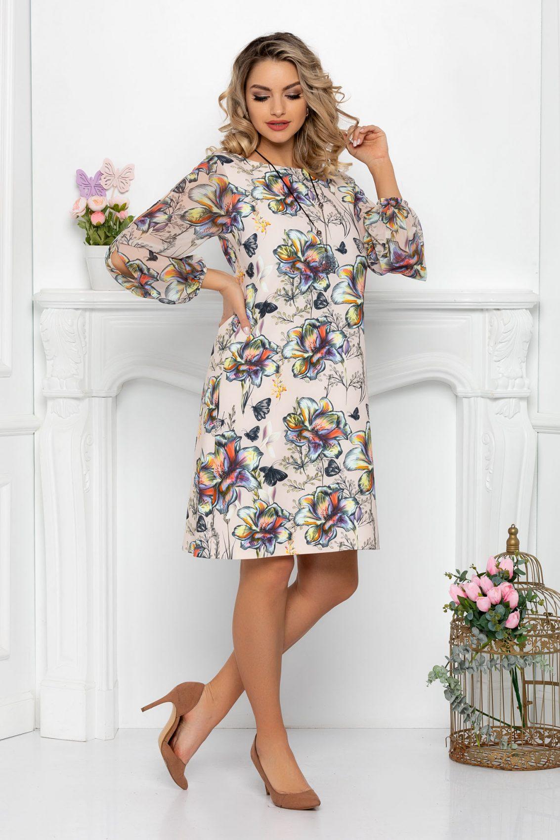 Φλοράλ Φόρεμα Σε Γραμμή Άλφα Derika 9383 1