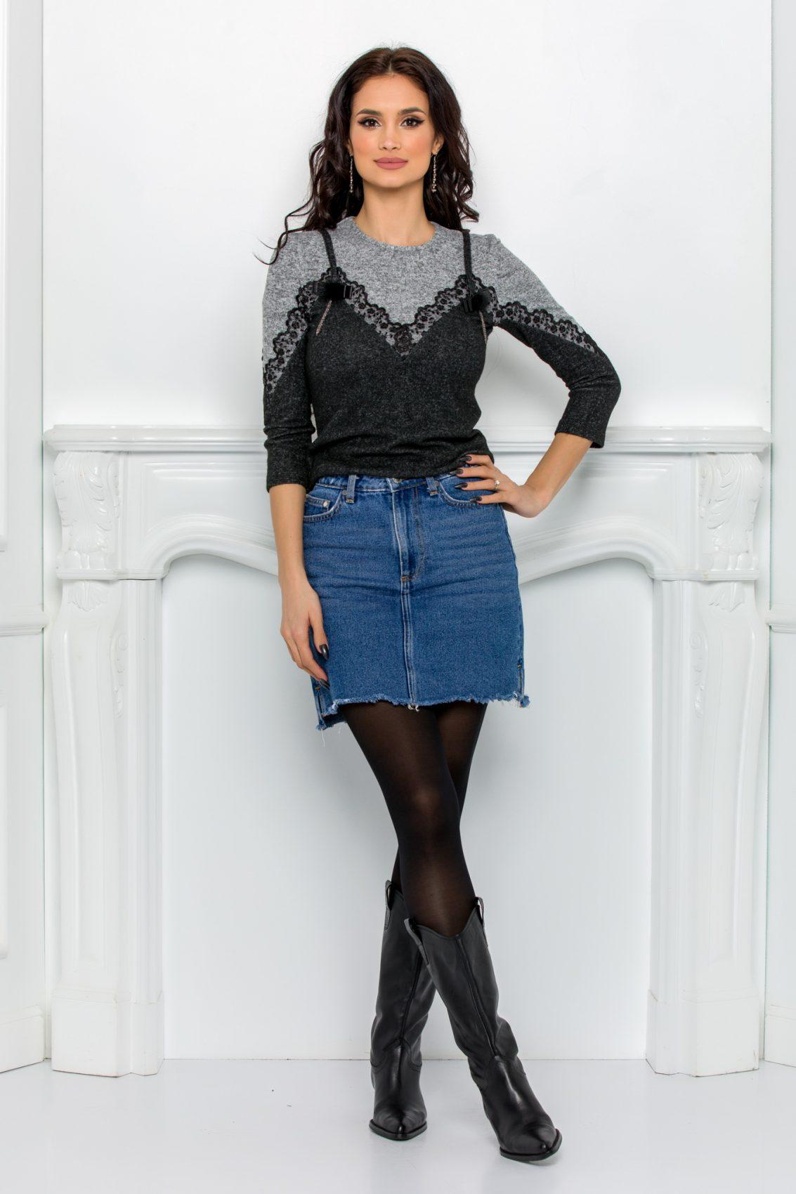 Μαύρη Μπλούζα Με Δαντέλα Marisa 9654 5