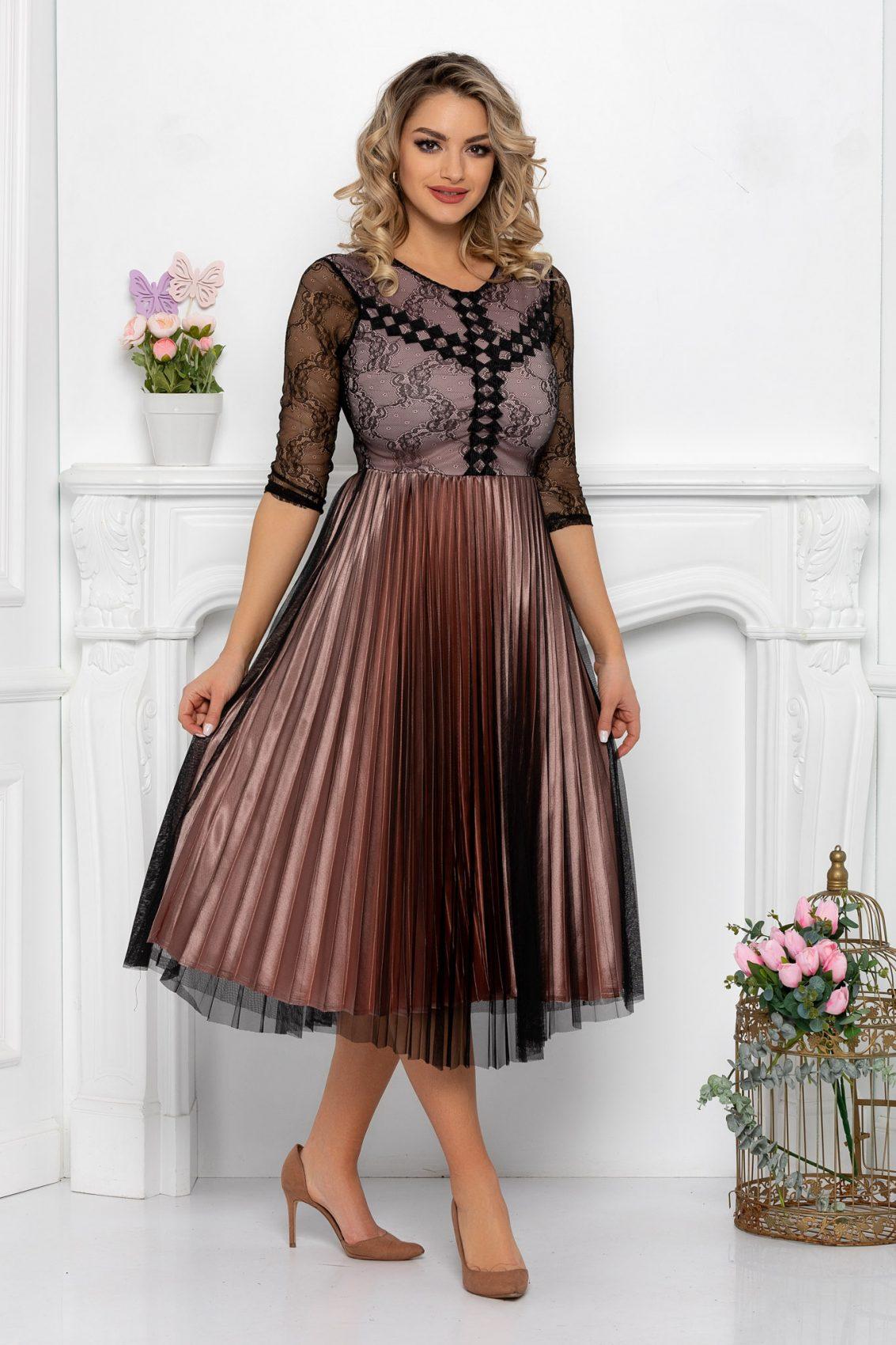 Μίντι Φόρεμα Πλισέ Σάπιο Μήλο Romance 9486 1
