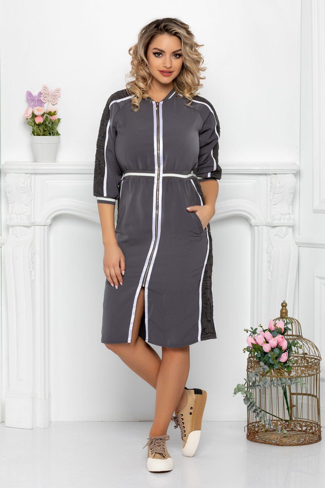 Γκρι Φόρεμα Με Φερμουάρ Helga 9385 1