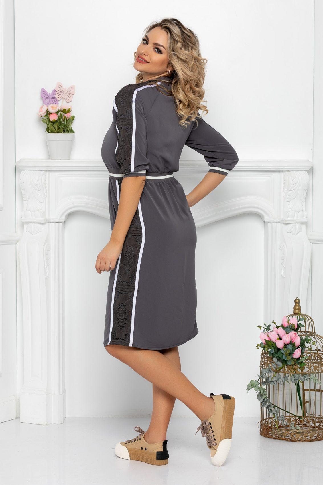 Γκρι Φόρεμα Με Φερμουάρ Helga 9385 2