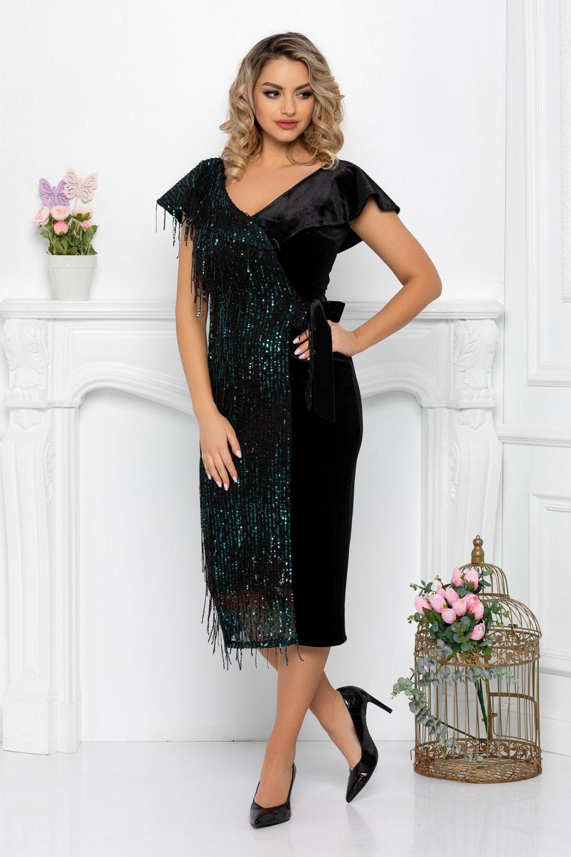 Μαύρο Βραδινό Φόρεμα Με Πούλιες Diamond 9343 1