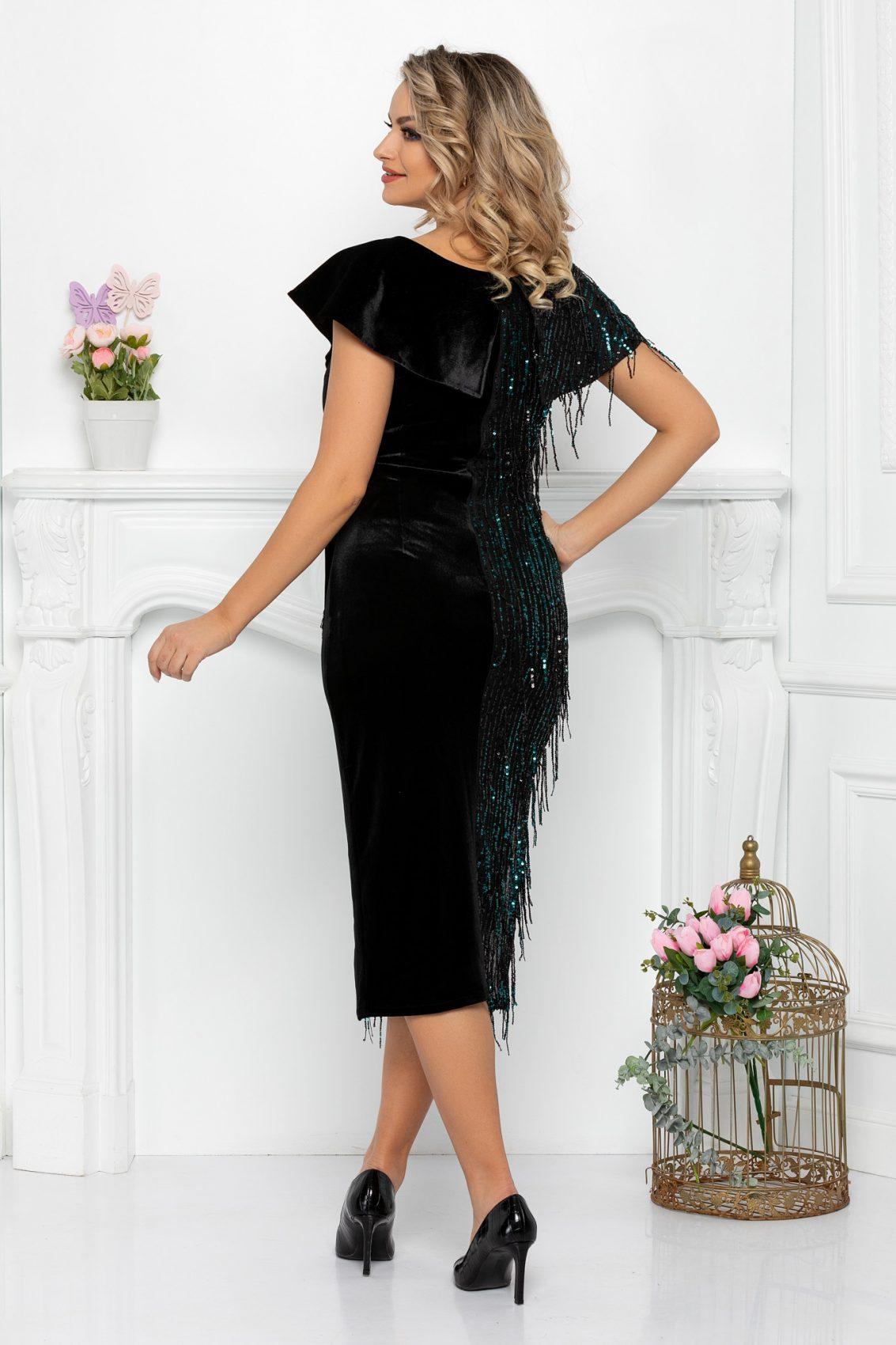Μαύρο Βραδινό Φόρεμα Με Πούλιες Diamond 9343 2
