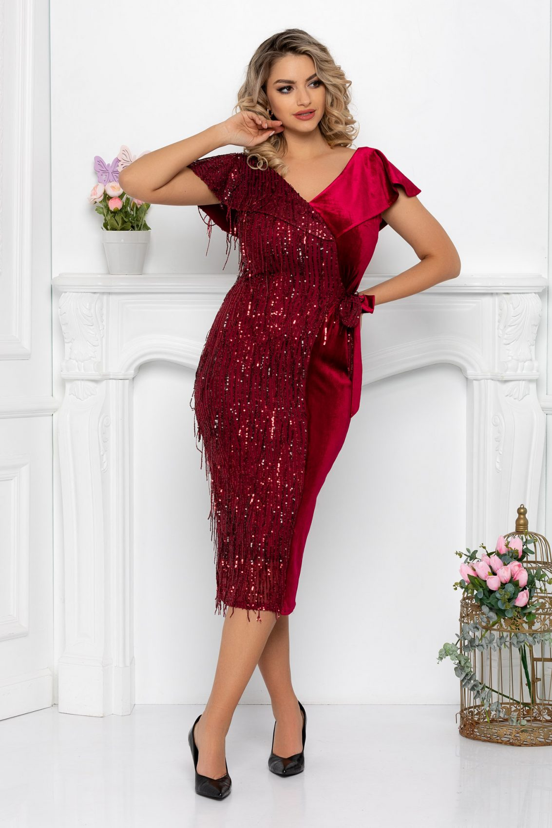 Μπορντό Βραδινό Φόρεμα Με Πούλιες Diamond 9344 1