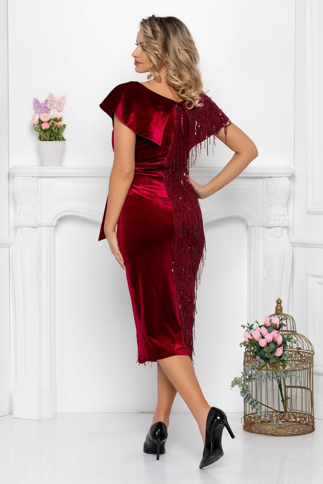 Μπορντό Βραδινό Φόρεμα Με Πούλιες Diamond 9344 2