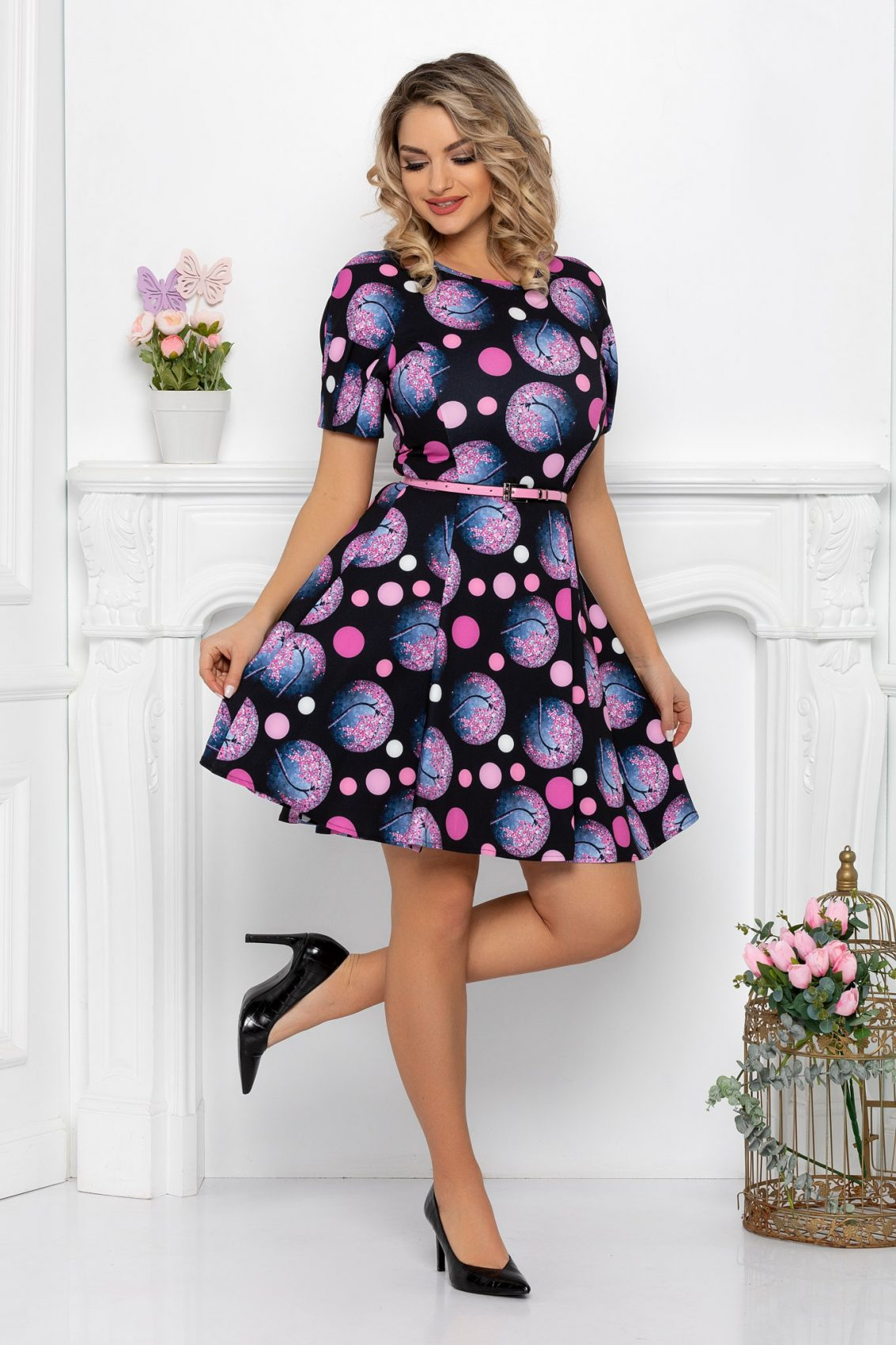 Μαύρο Κοντομάνικο Κλος Φόρεμα Katerina 9380 1