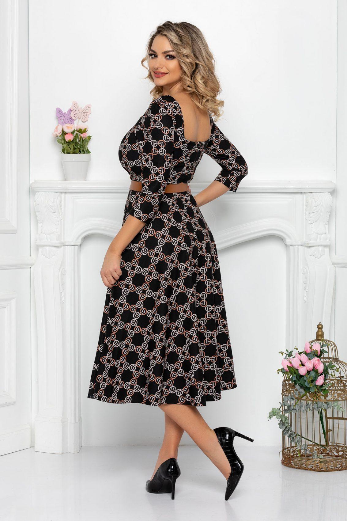 Μαυρο Φόρεμα Με 3/4 Μανίκι Hariett 8447 2