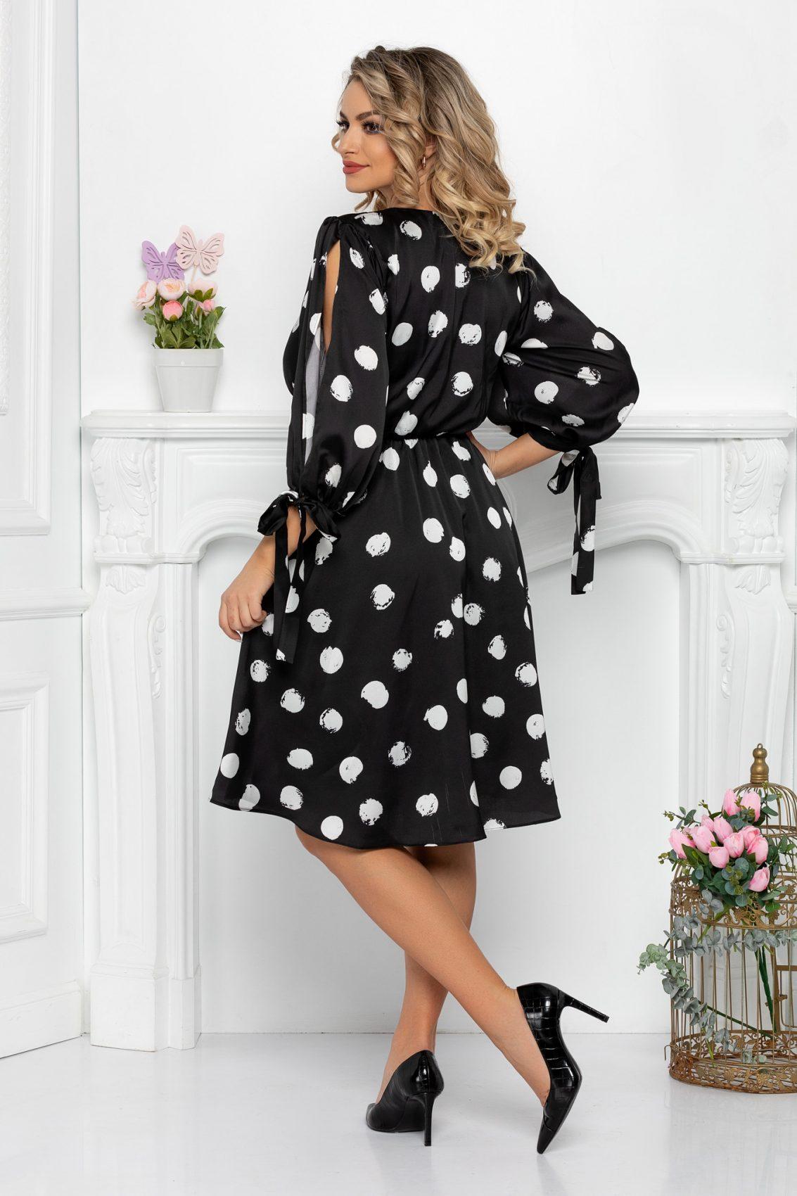 Μαύρο Πουά Σατέν Φόρεμα Selene 7445 2