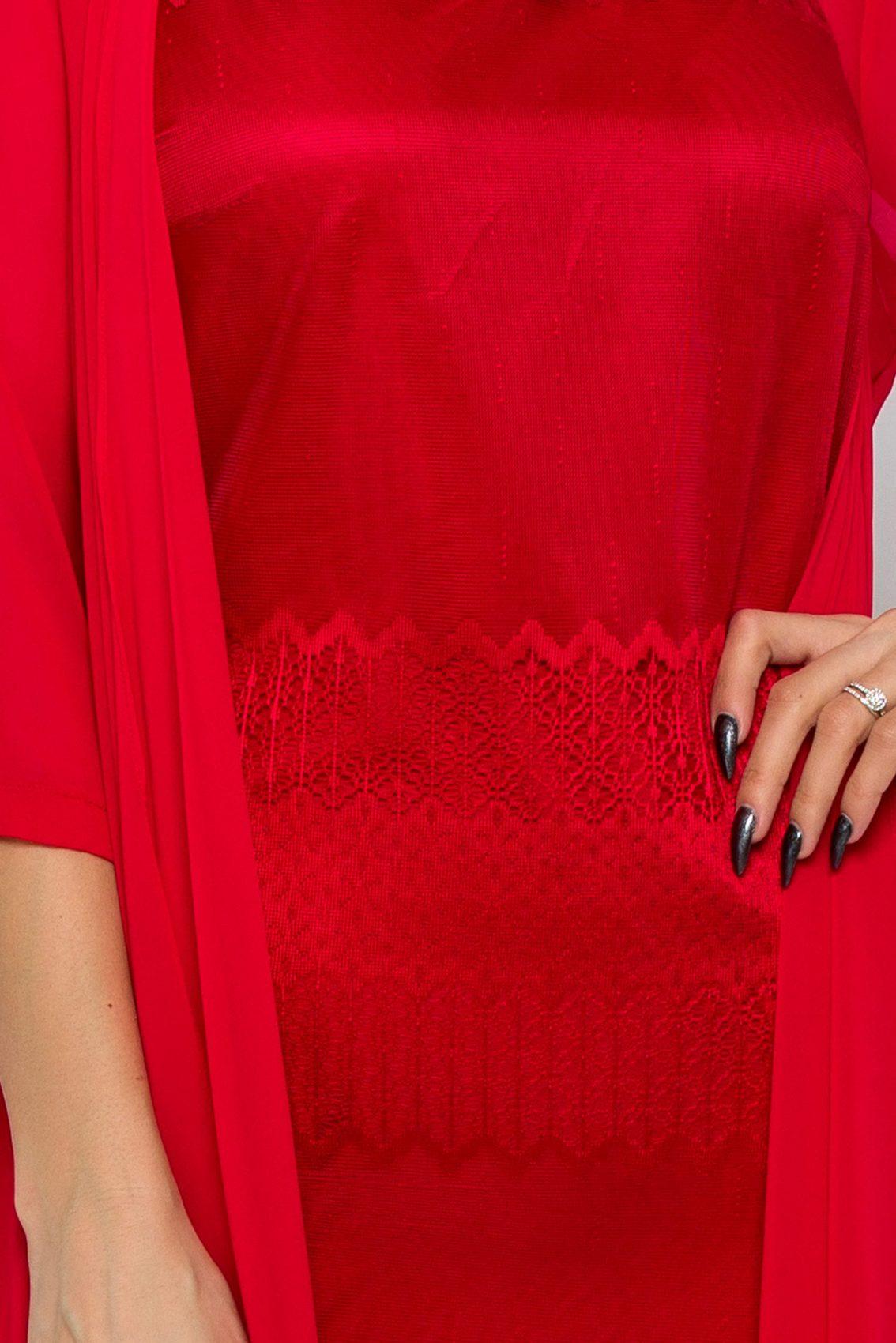 Κόκκινο Φόρεμα Με Ασύμμετρο Μπολερό Georgina 9517 3