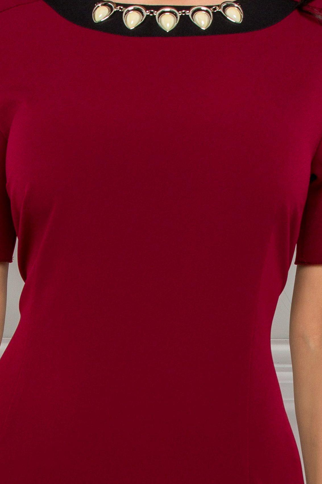 Μπορντό Μίντι Φόρεμα Evolette 9507 3