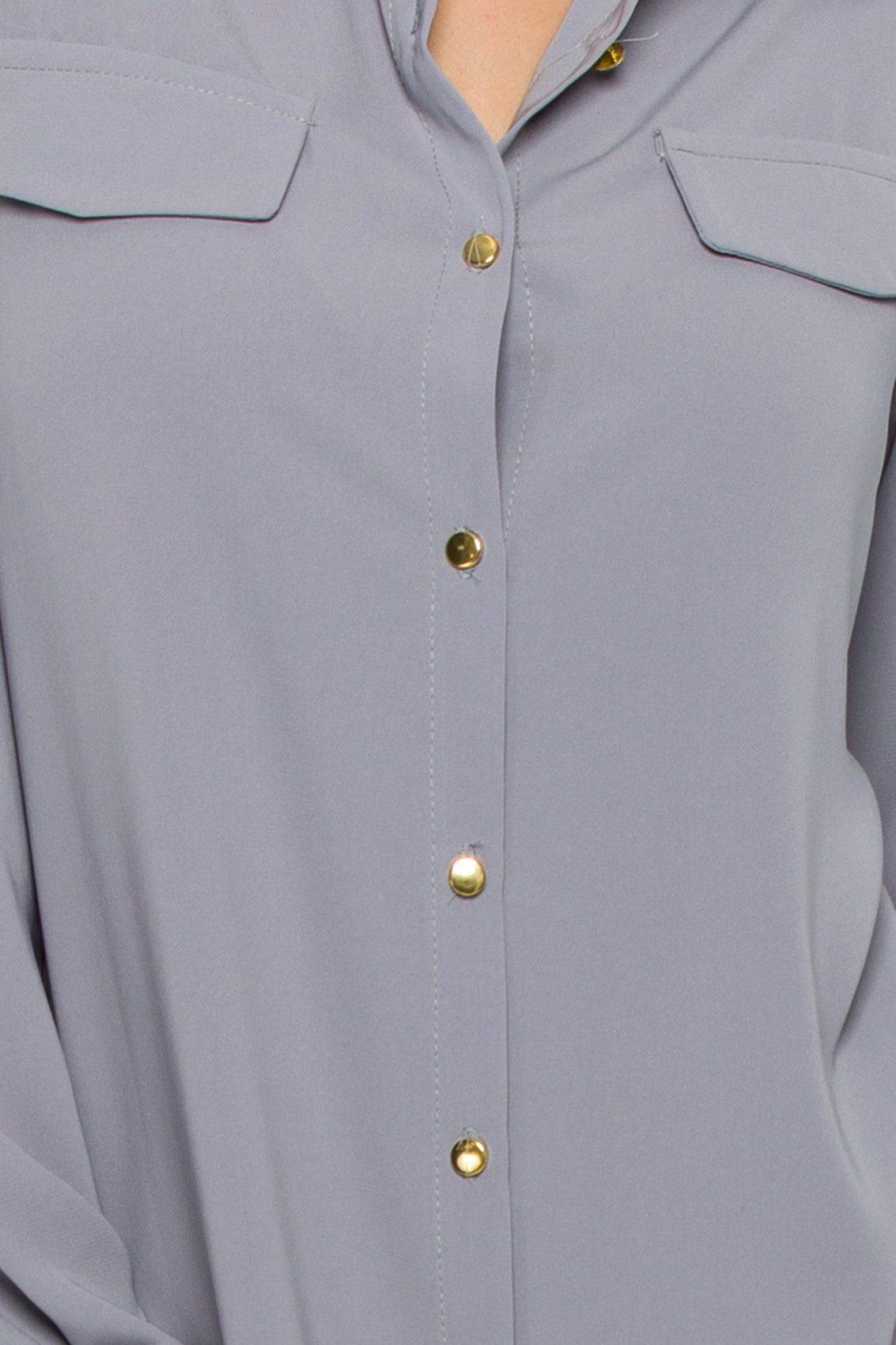 Γκρι Φόρεμα Πουκάμισο Μεγάλα Μεγέθη Kandy 9528 3