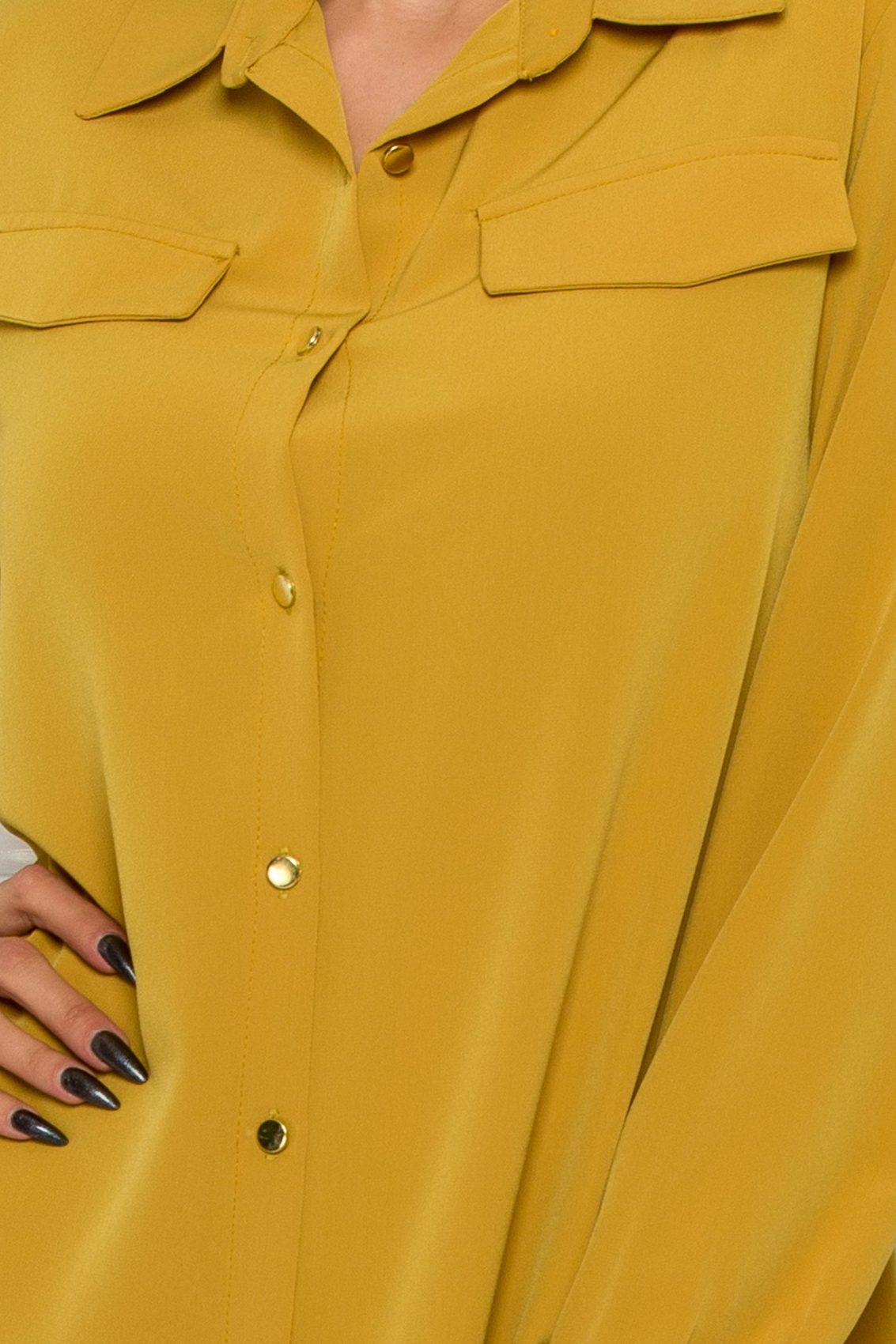 Κίτρινο Φόρεμα Πουκάμισο Μεγάλα Μεγέθη Kandy 9525 3