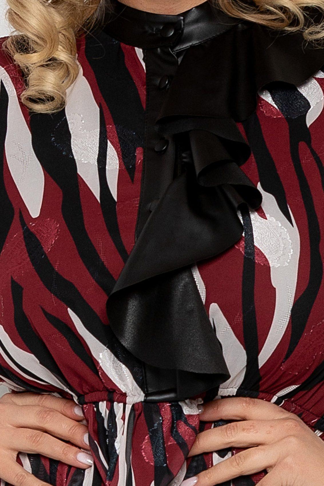 Μπορντό Φόρεμα Με Βολάν Manuela 9407 3