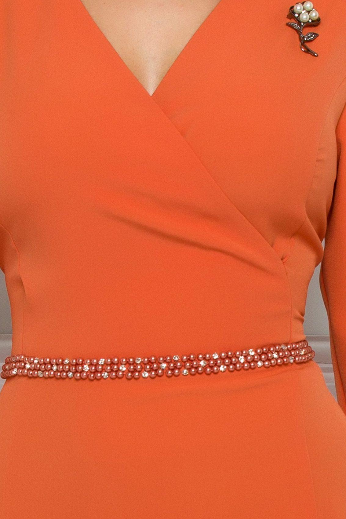 Πορτοκαλί Φόρεμα Με Πέρλες Johanna 9548 3
