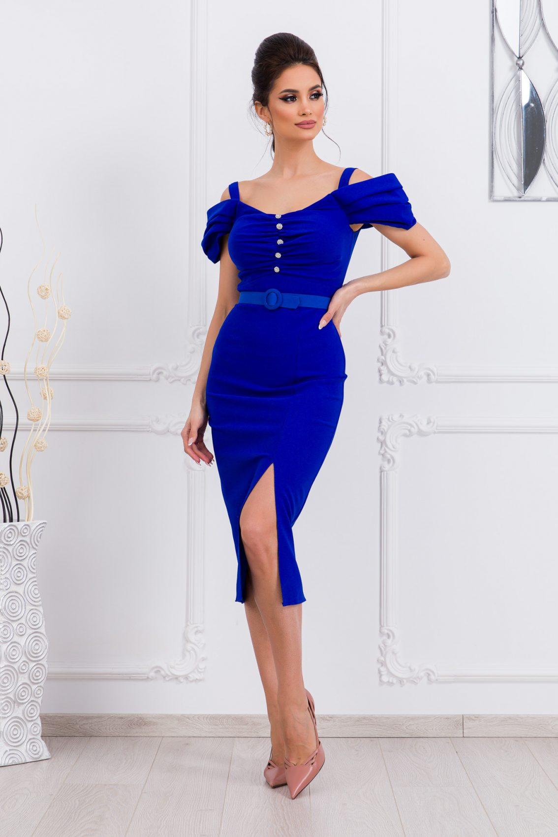 Μπλε Ρουά Μίντι Φόρεμα Anelle 9673 1