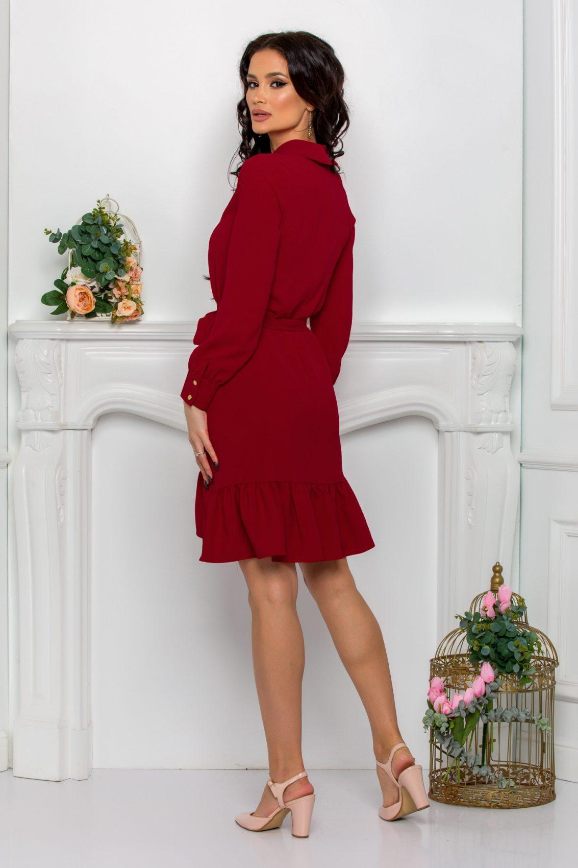 Μπορντό Φόρεμα Με Βολάν Rhea 9646 2