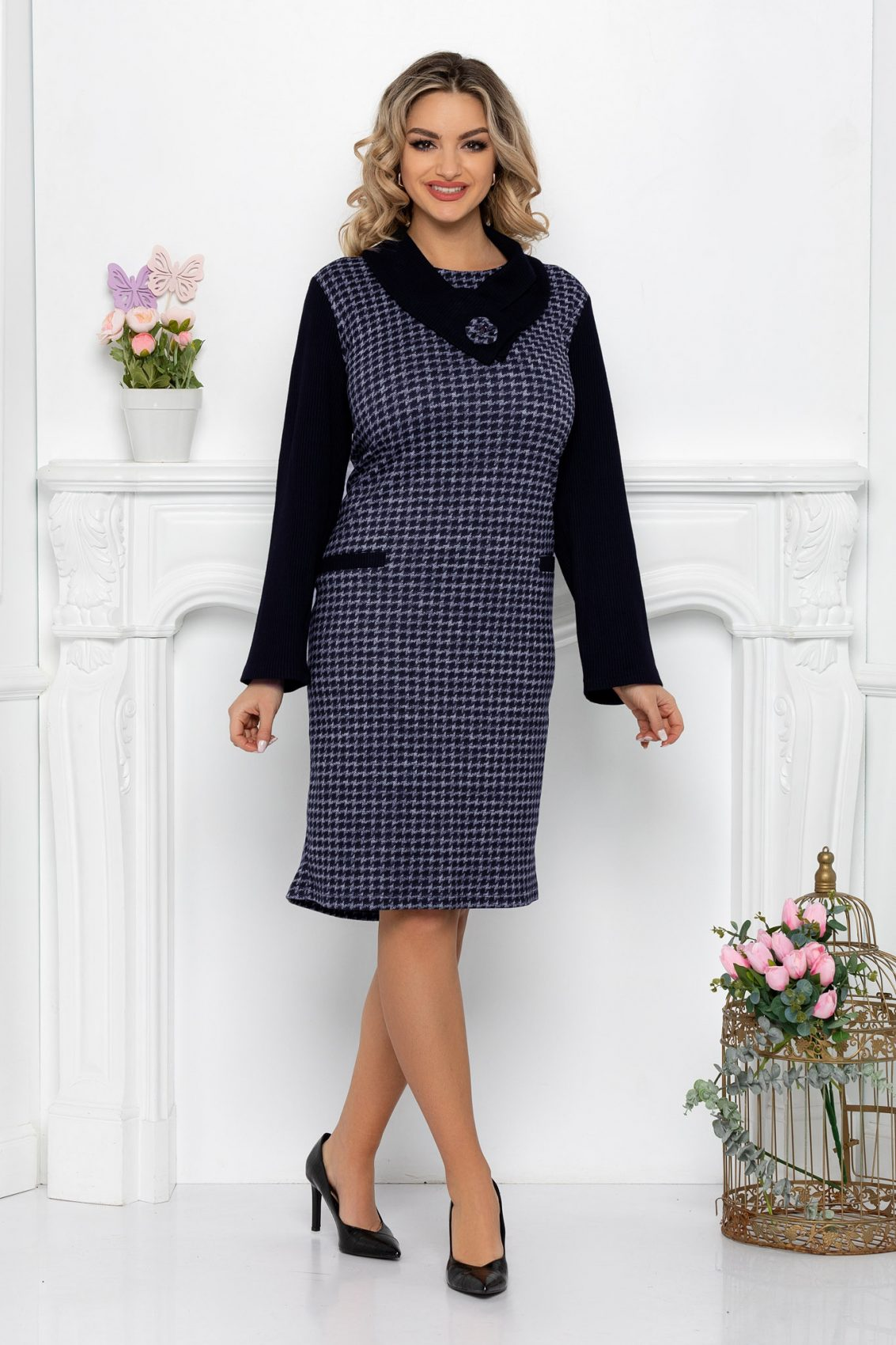 Μπλε Πλεκτό Φόρεμα Liberty 9496 1