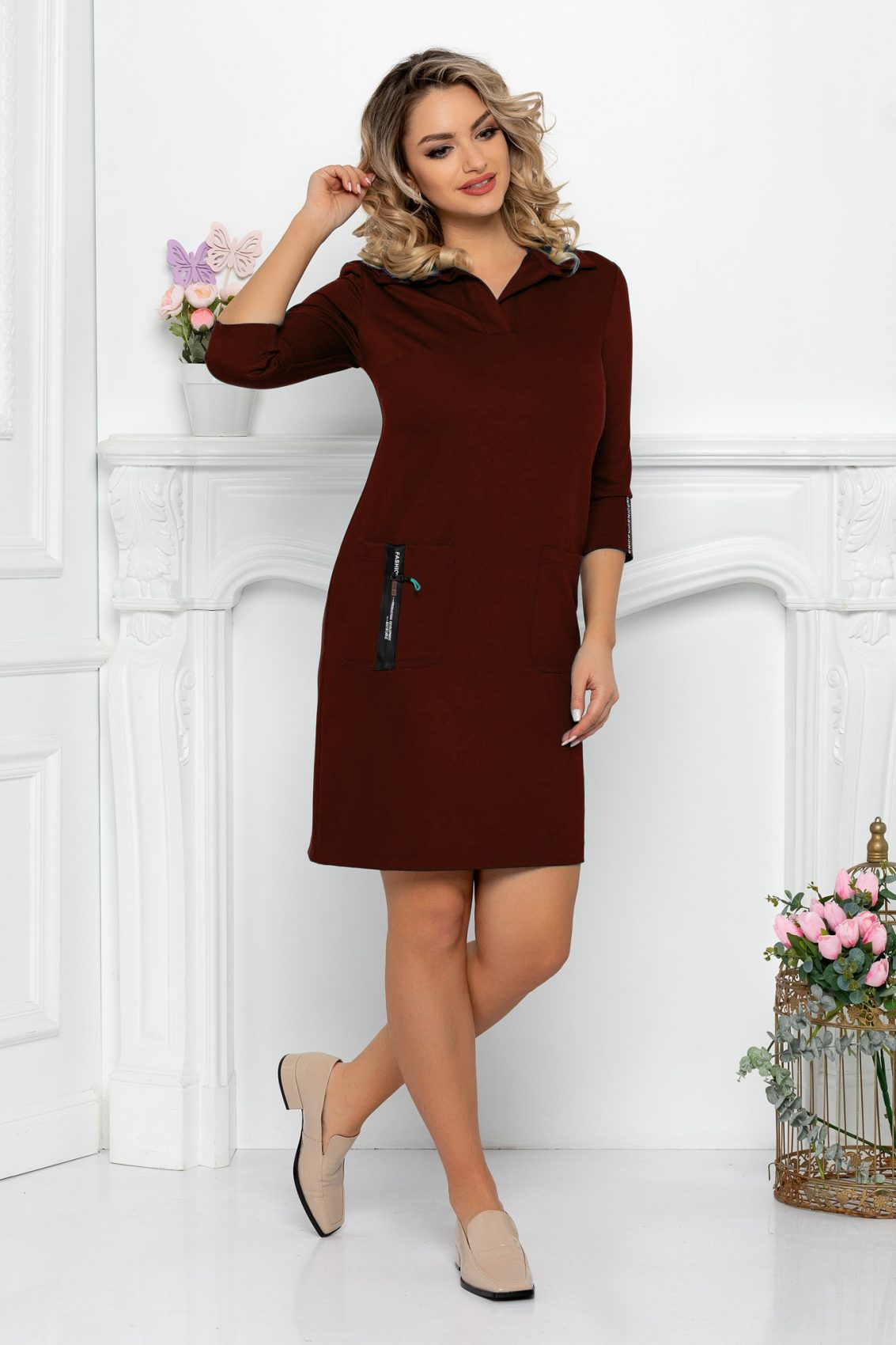 Καφέ Φόρεμα Με Τσέπες Aria 9480 1