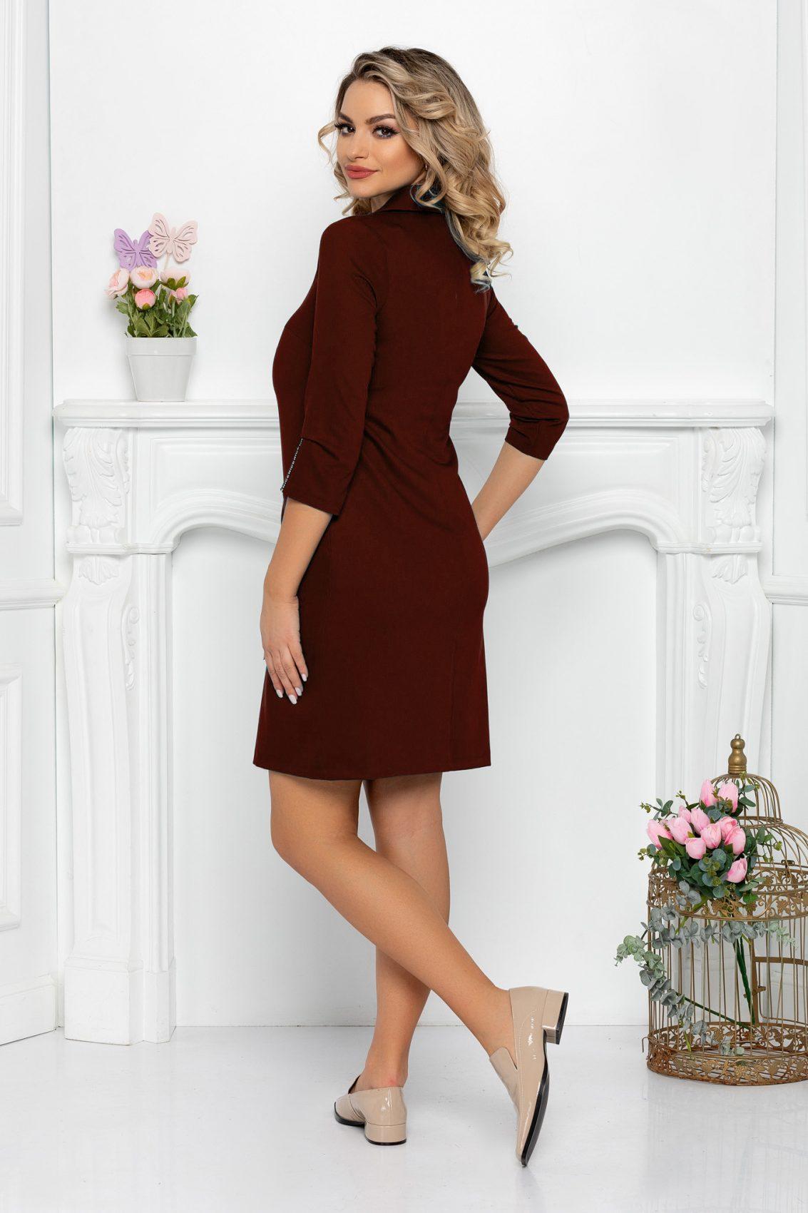 Καφέ Φόρεμα Με Τσέπες Aria 9480 2