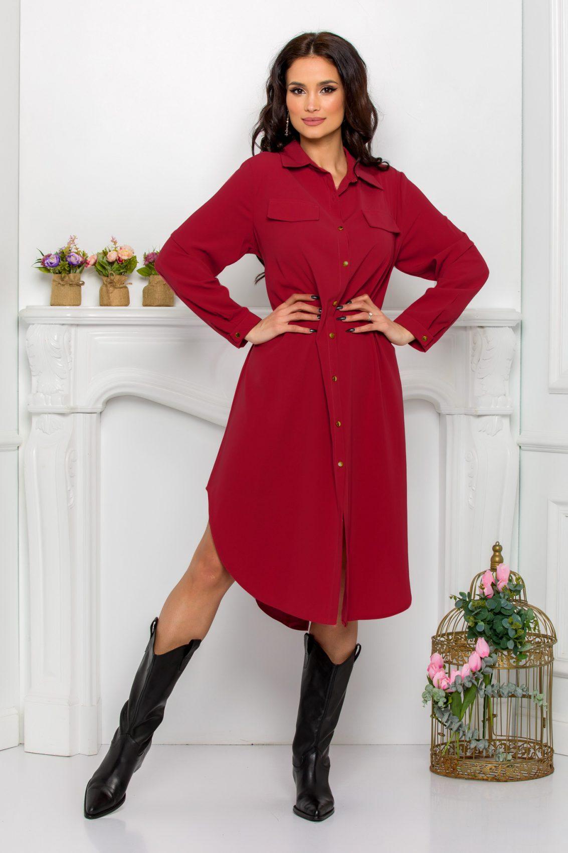 Μπορντό Φόρεμα Πουκάμισο Μεγάλα Μεγέθη Kandy 9644 1
