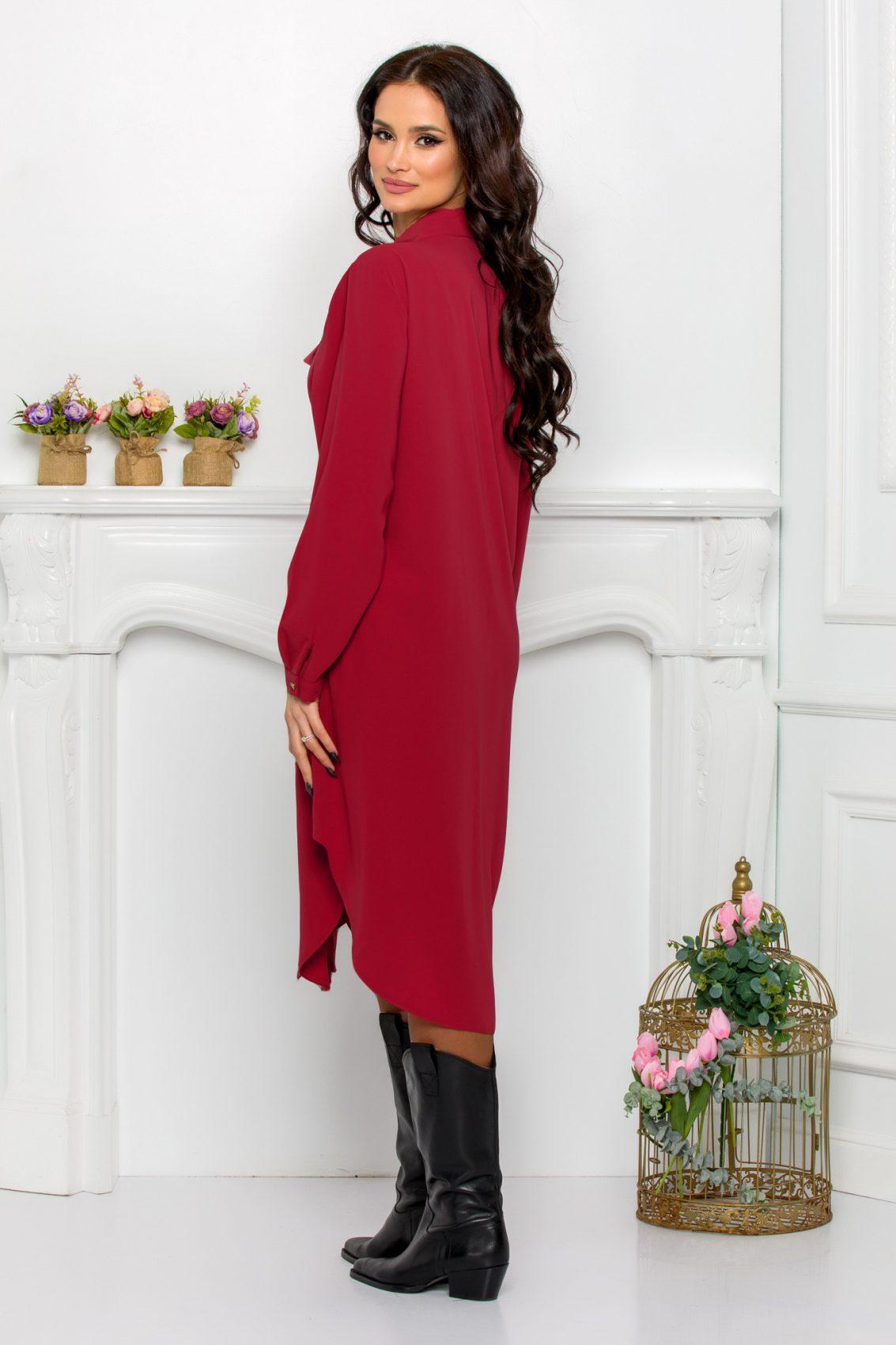 Μπορντό Φόρεμα Πουκάμισο Μεγάλα Μεγέθη Kandy 9644 2