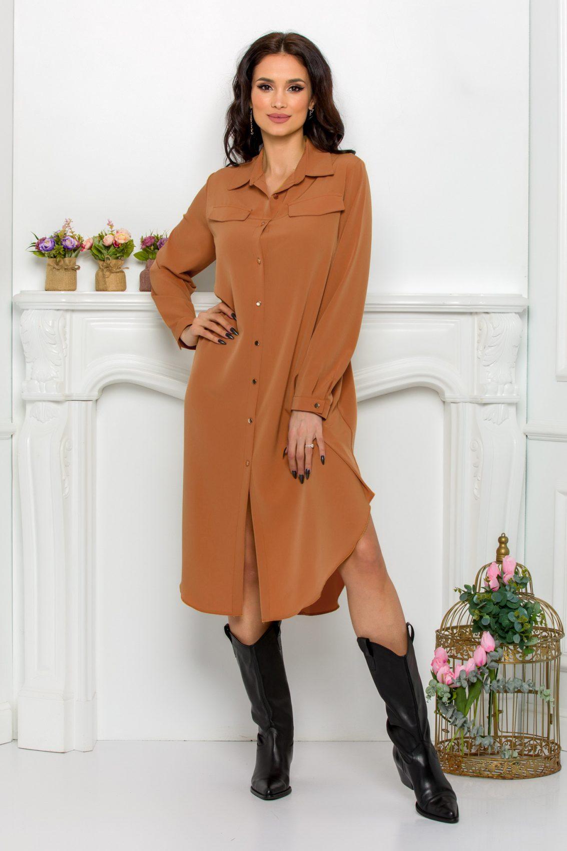 Καραμελέ Φόρεμα Πουκάμισο Μεγάλα Μεγέθη Kandy 9645 1
