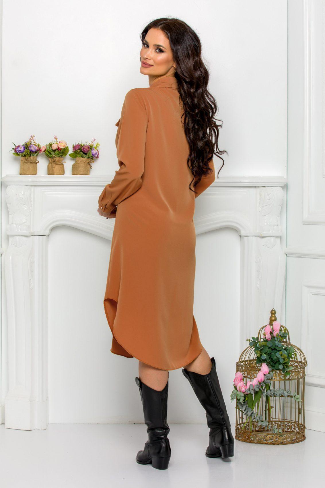 Καραμελέ Φόρεμα Πουκάμισο Μεγάλα Μεγέθη Kandy 9645 2