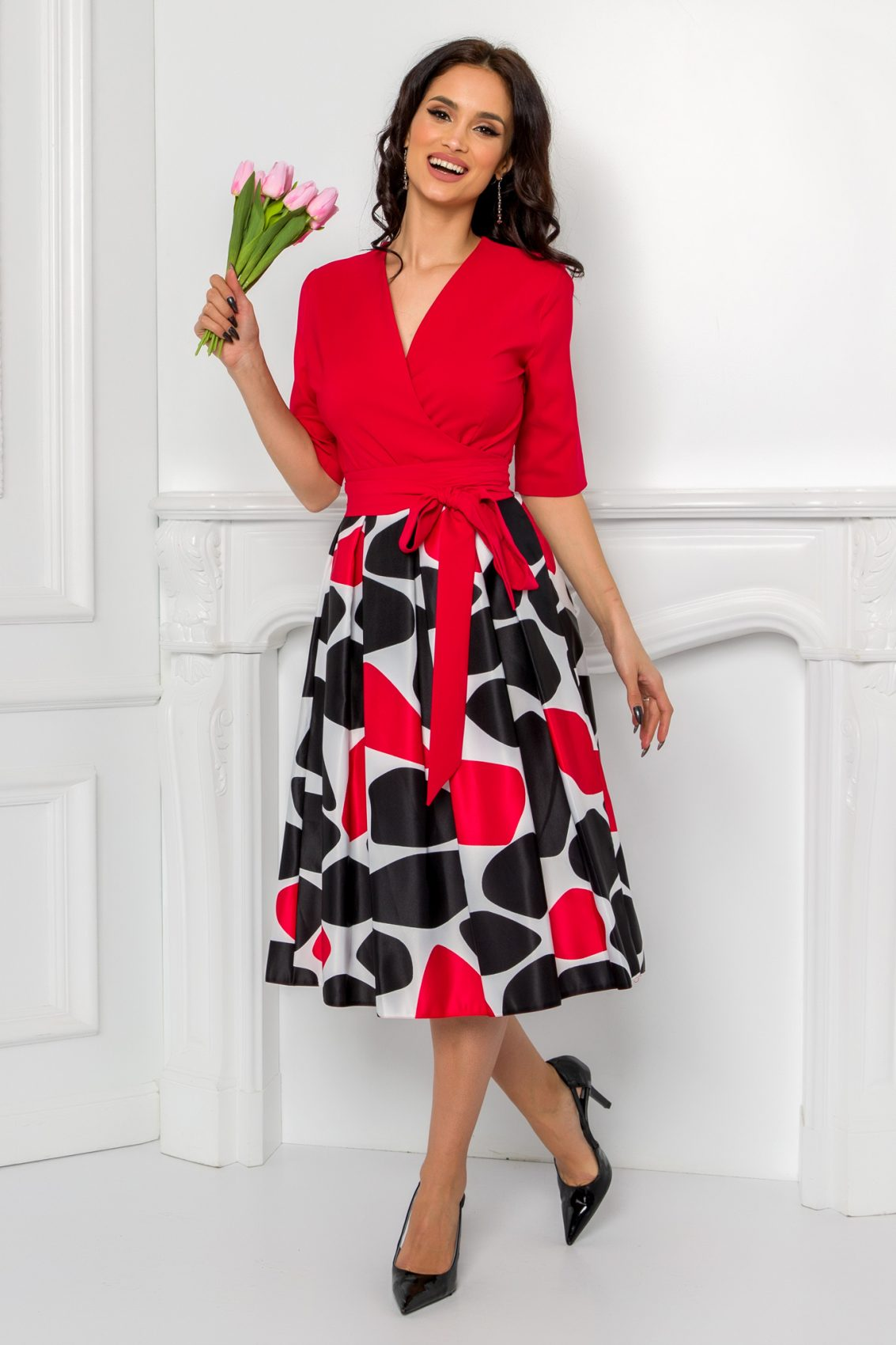 Κόκκινο Κρουαζέ Φόρεμα Dakota 9609 1