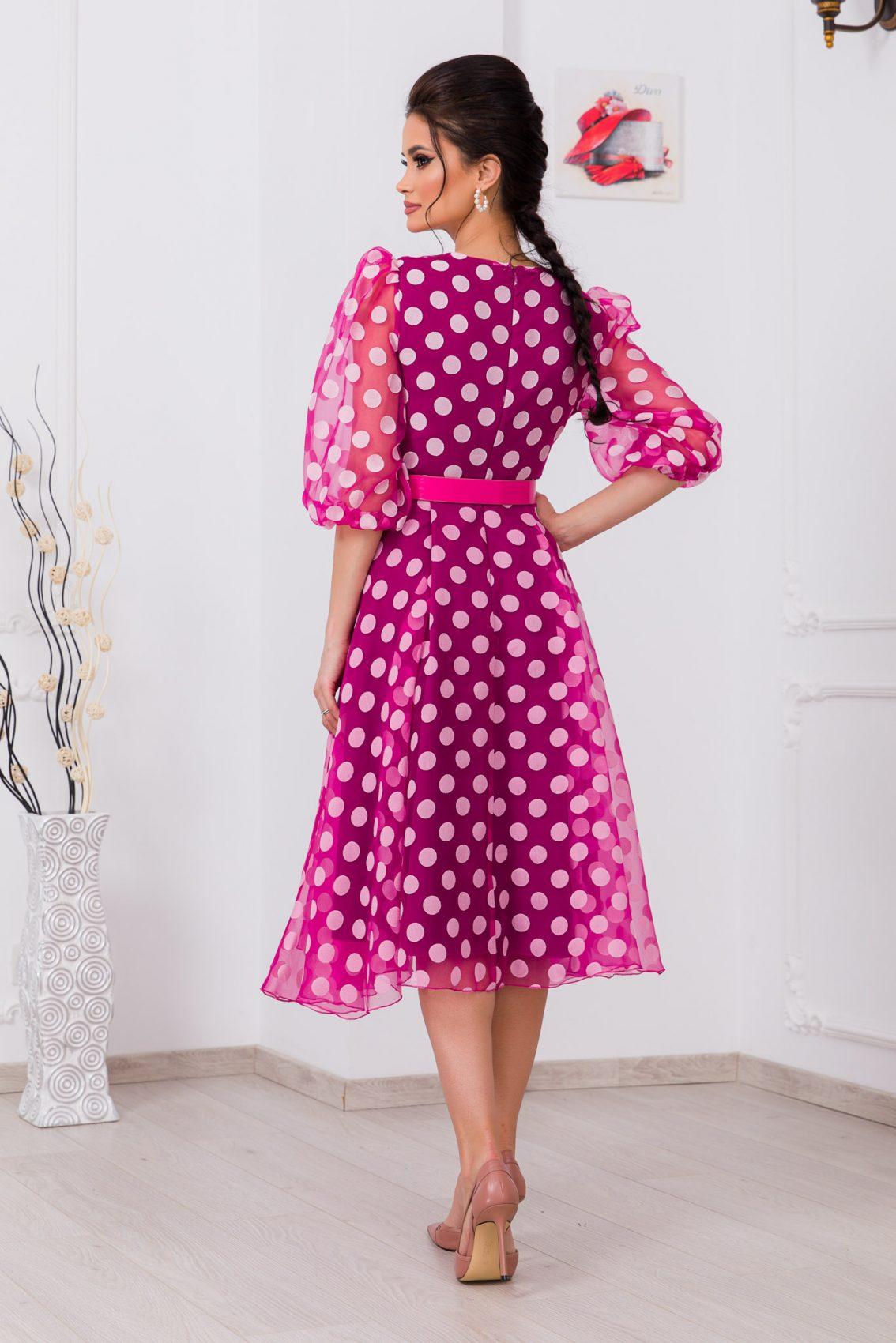 Πουά Φούξια Κρουαζέ Φόρεμα Mon Cherie 9714 2